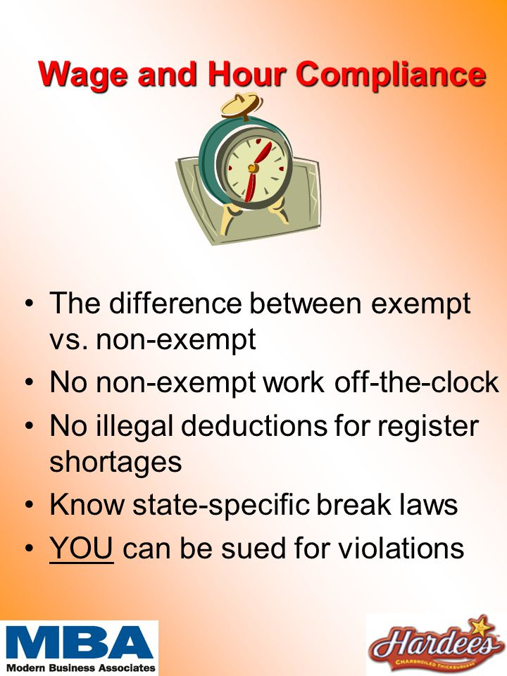 Wage and Hour Compliance The difference between exempt vs.