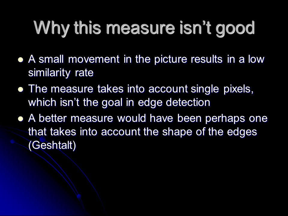 Why this measure isn't good A small movement in the picture results in a low similarity rate A small movement in the picture results in a low similari