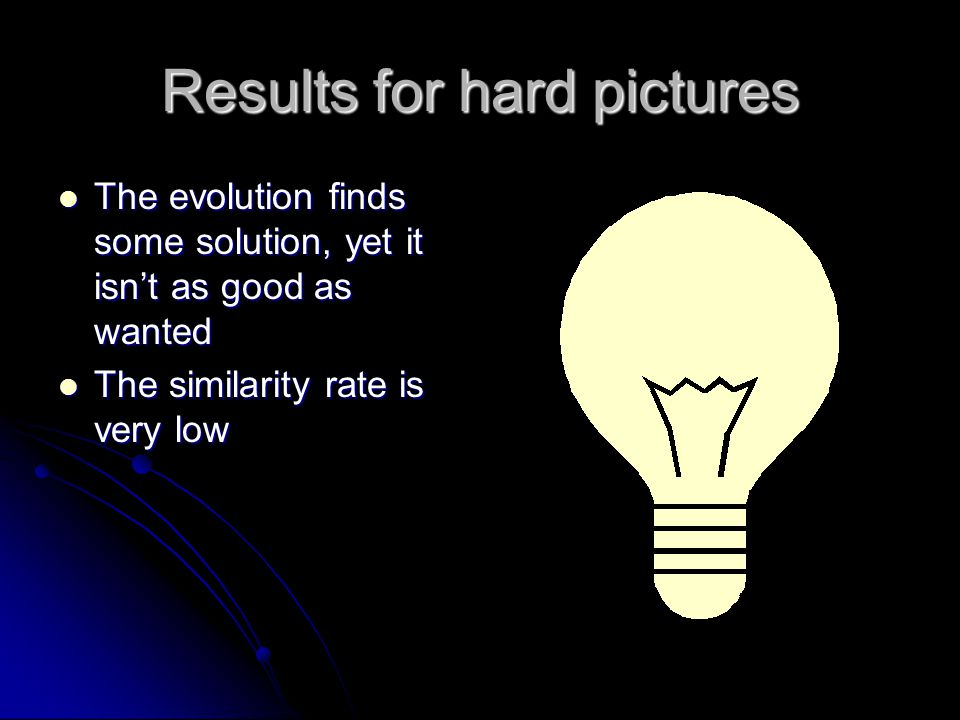 Results for hard pictures The evolution finds some solution, yet it isn't as good as wanted The evolution finds some solution, yet it isn't as good as