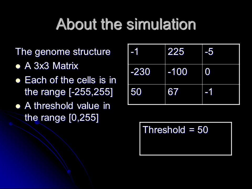 About the simulation The genome structure A 3x3 Matrix A 3x3 Matrix Each of the cells is in the range [-255,255] Each of the cells is in the range [-255,255] A threshold value in the range [0,255] A threshold value in the range [0,255]225-5 -230-1000 5067 Threshold = 50