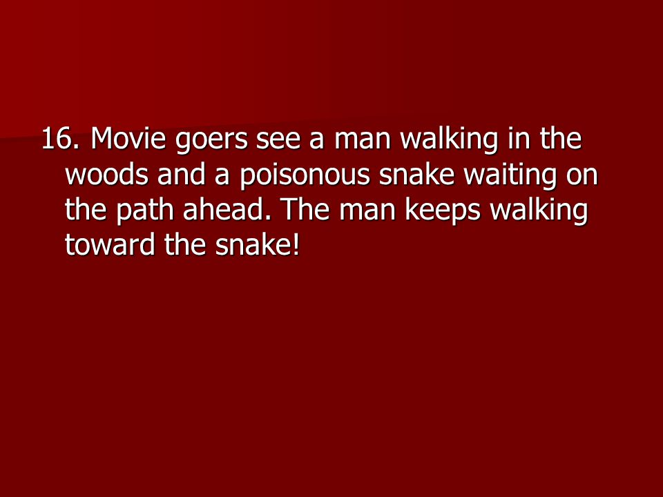 16. Movie goers see a man walking in the woods and a poisonous snake waiting on the path ahead.