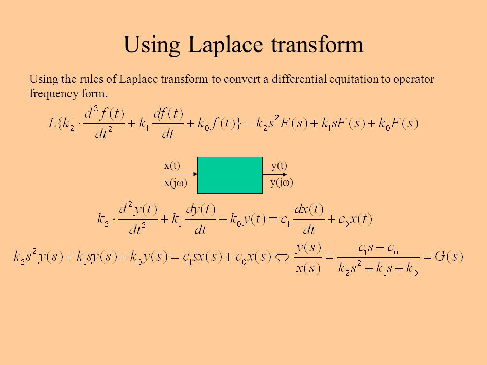 Using Laplace transform Using the rules of Laplace transform to convert a differential equitation to operator frequency form.