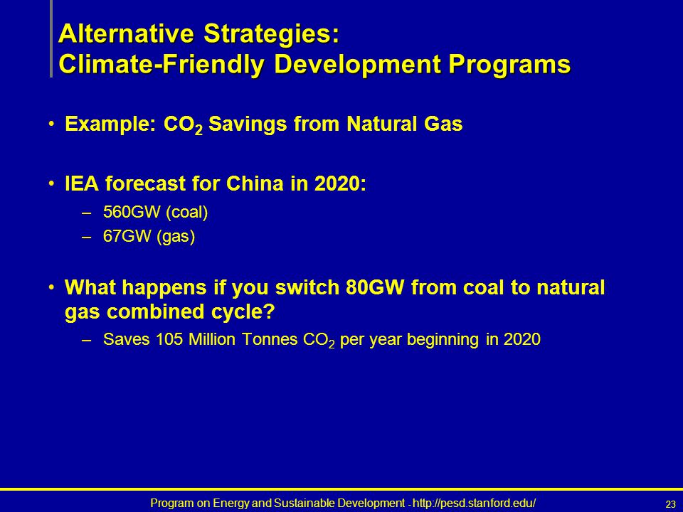 Program on Energy and Sustainable Development - http://pesd.stanford.edu/ 23 Example: CO 2 Savings from Natural Gas IEA forecast for China in 2020: –560GW (coal) –67GW (gas) What happens if you switch 80GW from coal to natural gas combined cycle.