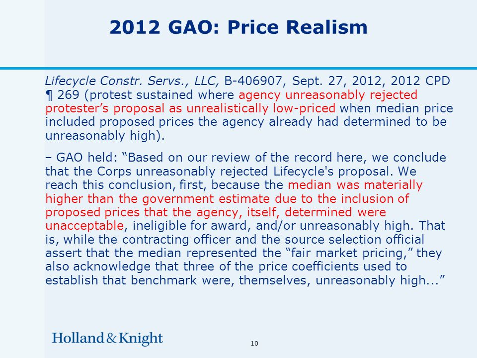 10 2012 GAO: Price Realism Lifecycle Constr. Servs., LLC, B-406907, Sept.