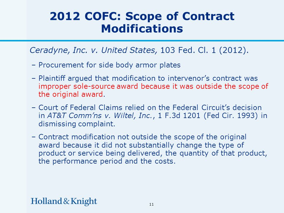 11 2012 COFC: Scope of Contract Modifications Ceradyne, Inc.