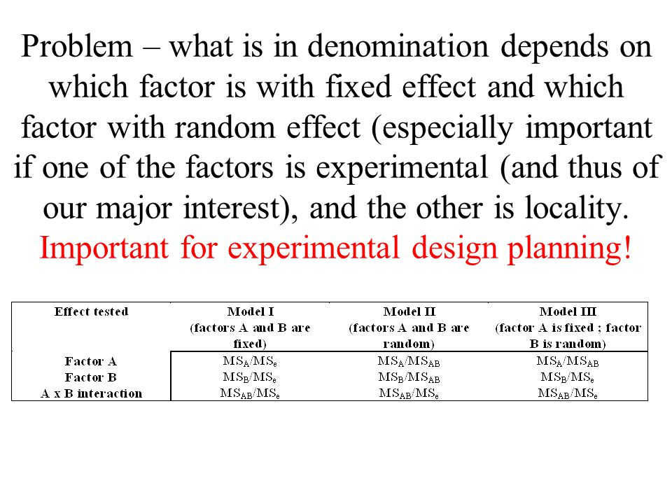 Problem – what is in denomination depends on which factor is with fixed effect and which factor with random effect (especially important if one of the