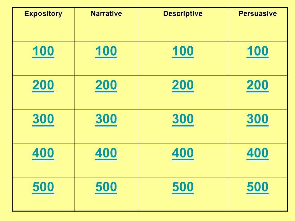 ExpositoryNarrativeDescriptivePersuasive 100 200 300 400 500