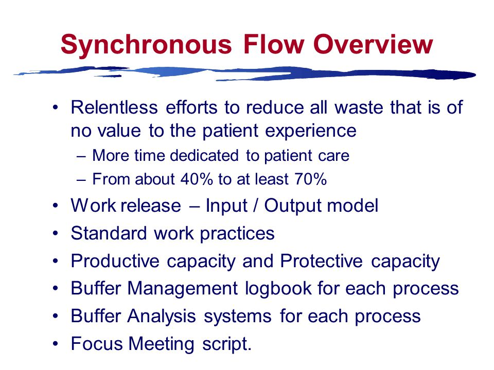 Synchronous Flow Overview Relentless efforts to reduce all waste that is of no value to the patient experience –More time dedicated to patient care –From about 40% to at least 70% Work release – Input / Output model Standard work practices Productive capacity and Protective capacity Buffer Management logbook for each process Buffer Analysis systems for each process Focus Meeting script.