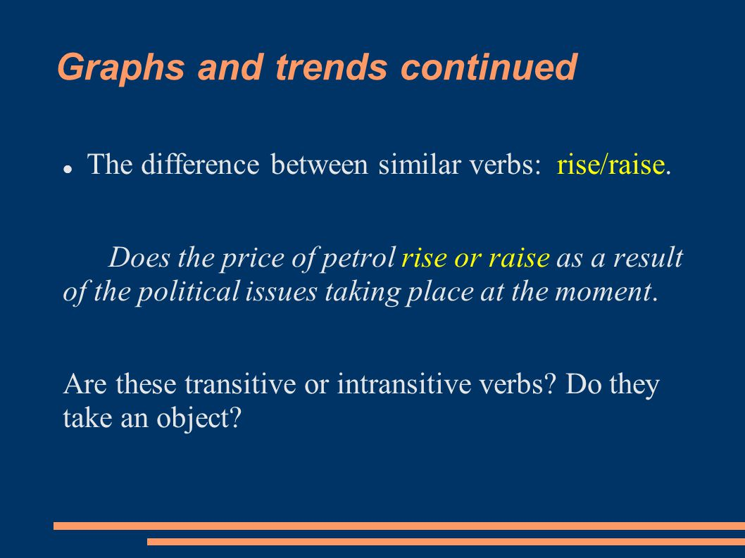 Graphs and trends continued The difference between similar verbs: rise/raise.