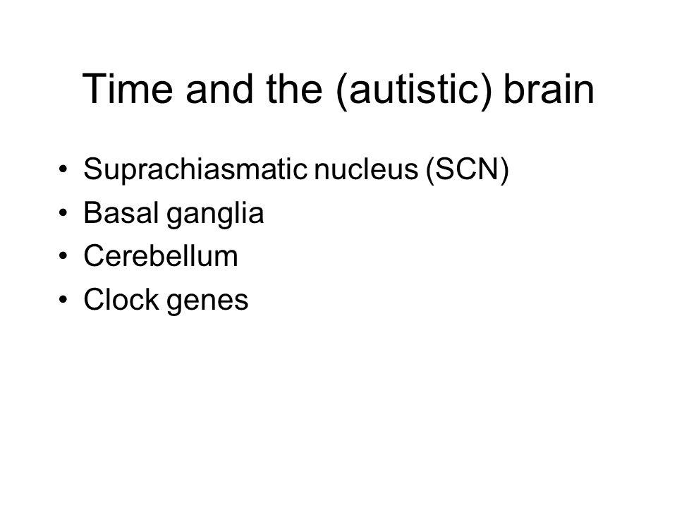 Time and the (autistic) brain Suprachiasmatic nucleus (SCN) Basal ganglia Cerebellum Clock genes