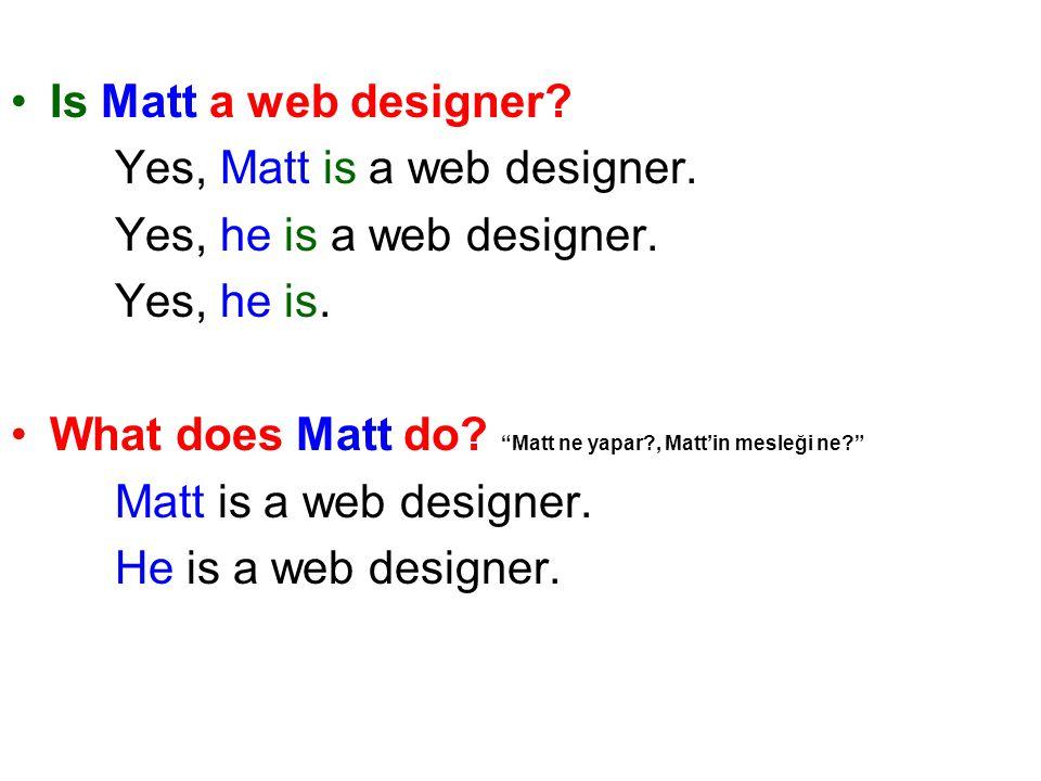 Is Matt a web designer. Yes, Matt is a web designer.