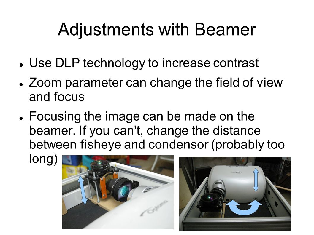 Adjustments with Beamer Use DLP technology to increase contrast Zoom parameter can change the field of view and focus Focusing the image can be made on the beamer.