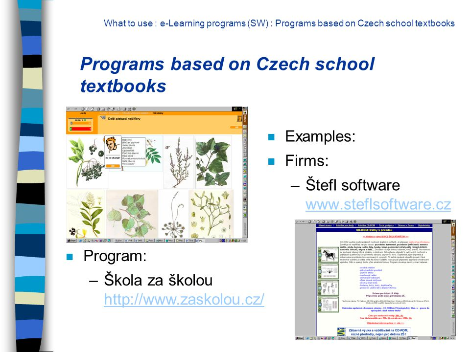 n Examples: n Firms: –Štefl software www.steflsoftware.cz www.steflsoftware.cz Programs based on Czech school textbooks What to use : e-Learning progr