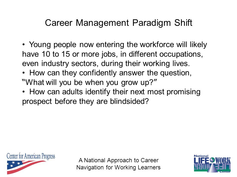 A National Approach to Career Navigation for Working Learners Career Management Paradigm Shift Young people now entering the workforce will likely have 10 to 15 or more jobs, in different occupations, even industry sectors, during their working lives.