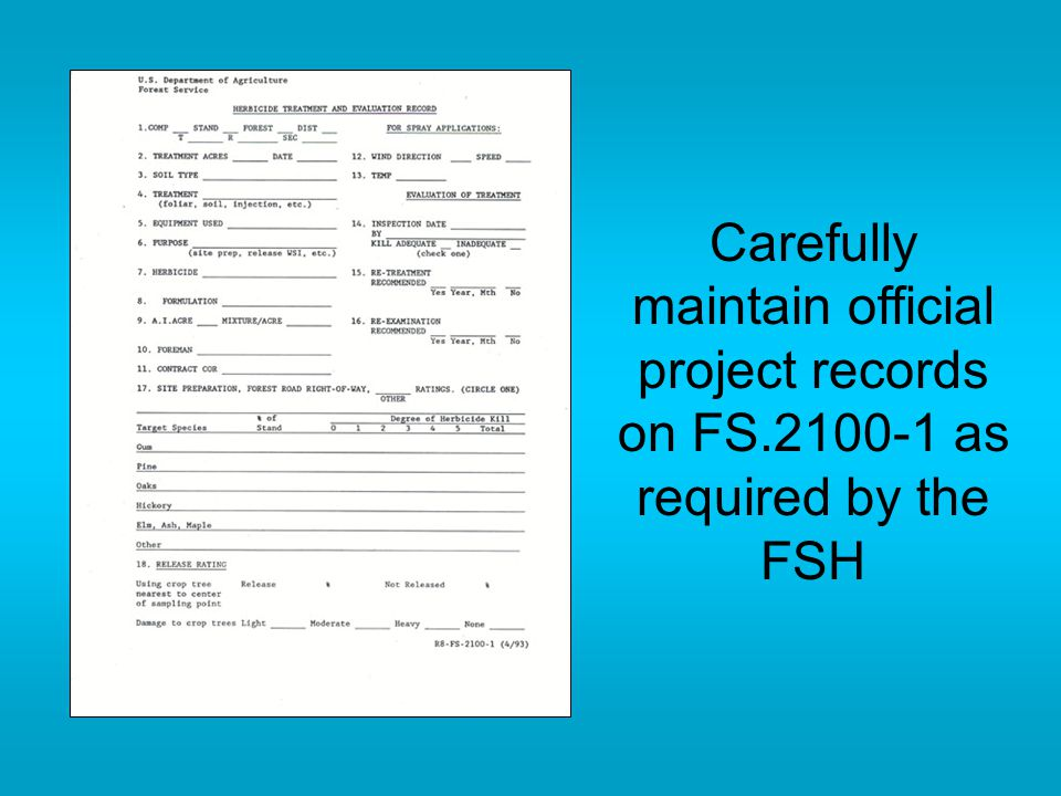 Carefully maintain official project records on FS.2100-1 as required by the FSH