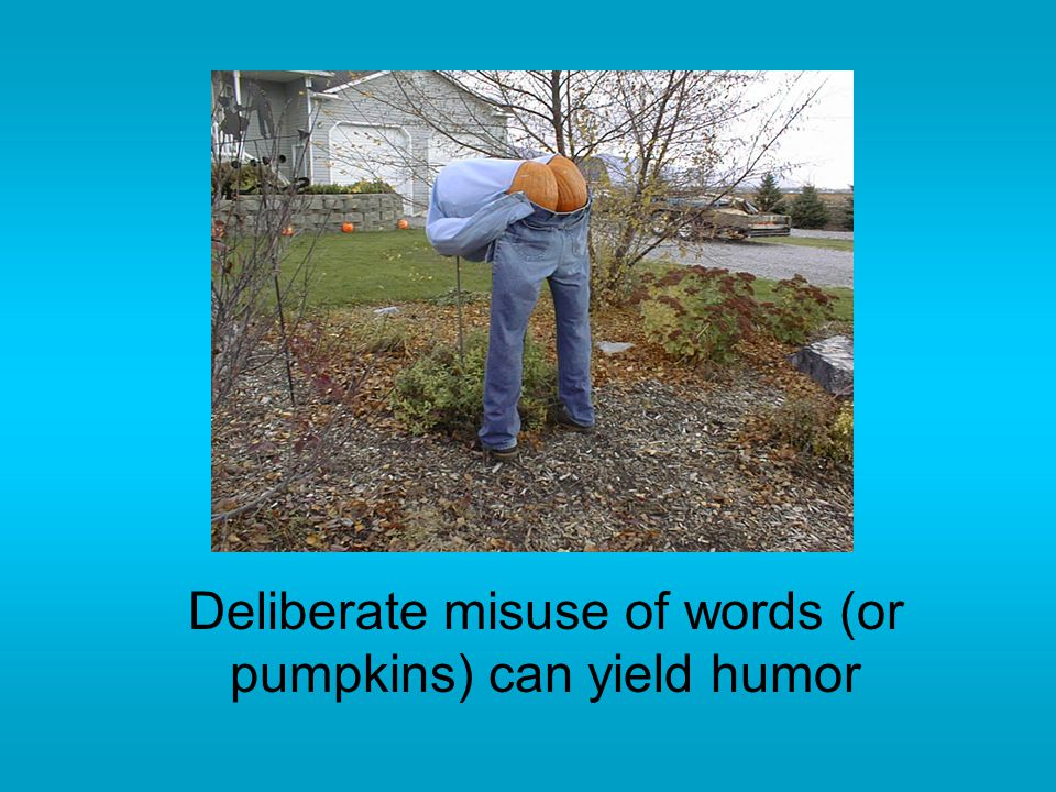 Deliberate misuse of words (or pumpkins) can yield humor