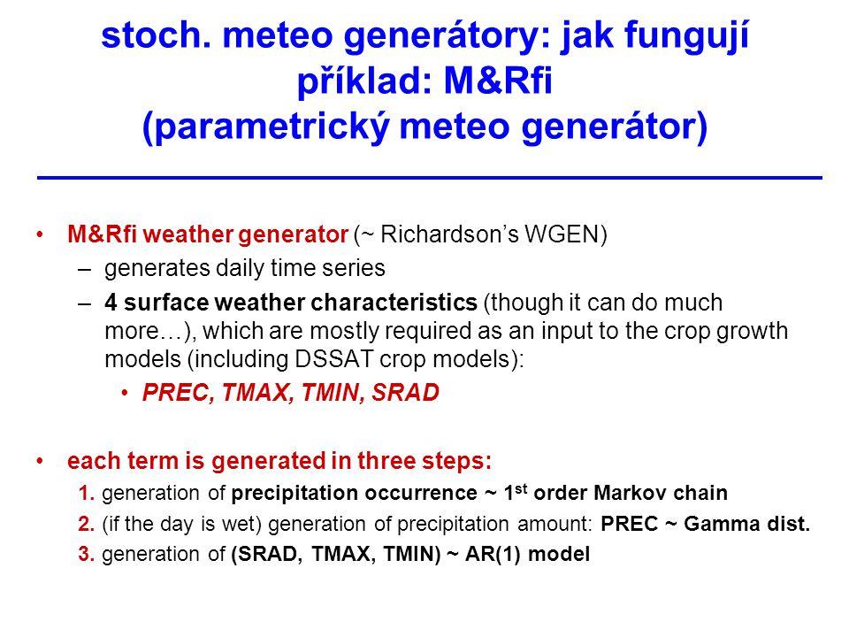stoch. meteo generátory: jak fungují příklad: M&Rfi (parametrický meteo generátor) M&Rfi weather generator (~ Richardson's WGEN) –generates daily time