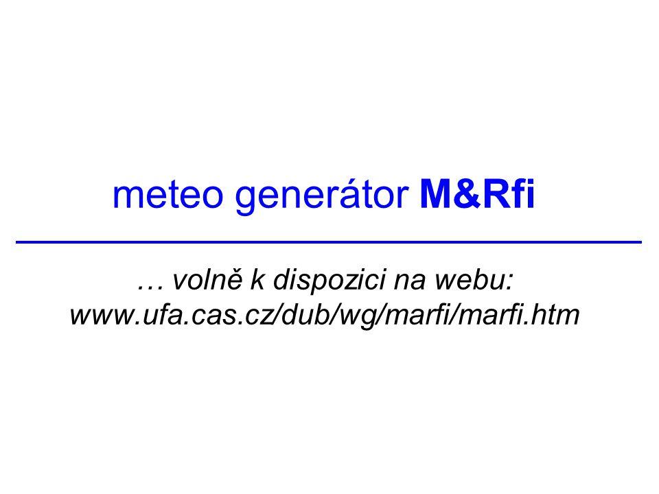 meteo generátor M&Rfi … volně k dispozici na webu: www.ufa.cas.cz/dub/wg/marfi/marfi.htm