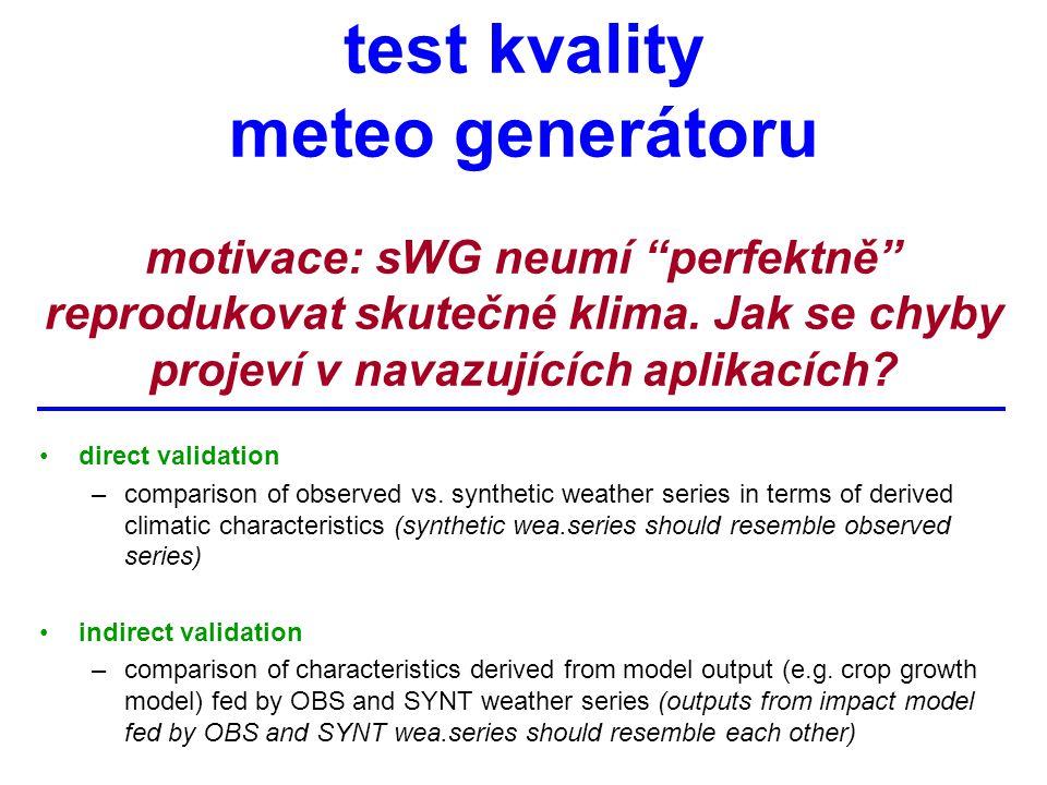 test kvality meteo generátoru motivace: sWG neumí perfektně reprodukovat skutečné klima.
