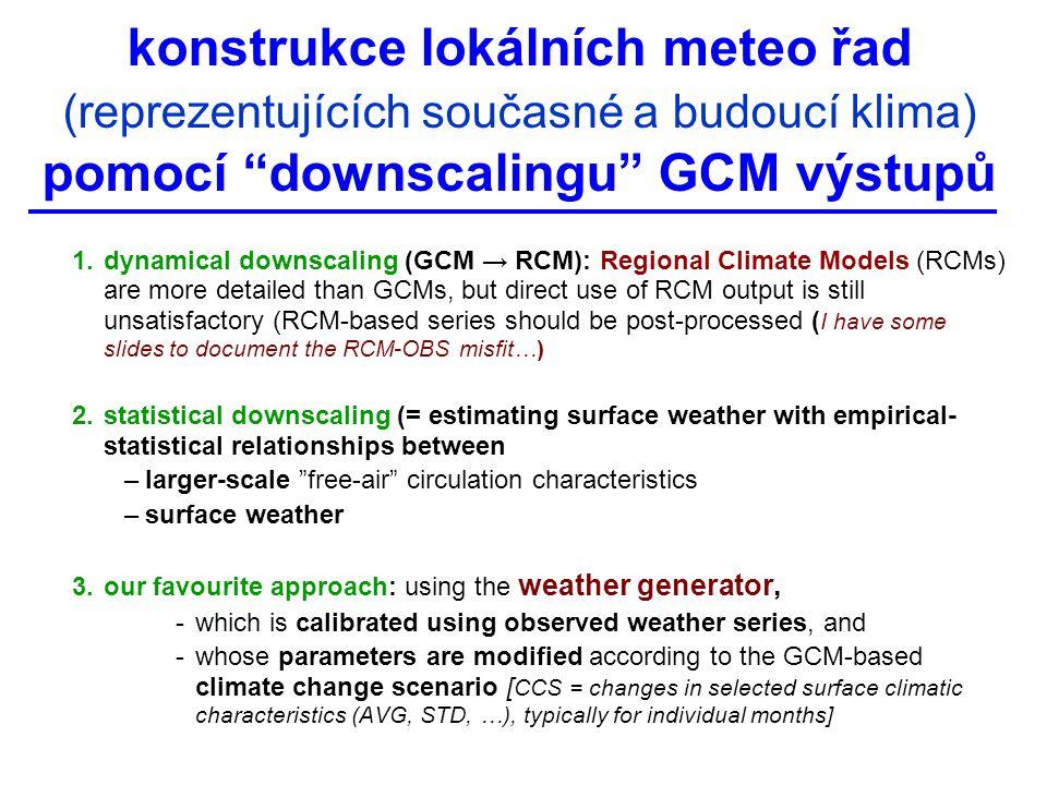Multi-GCM validace: roční chod (TAVG) (median [~colour] and STD [~symbol] of 18 single-GCM values) RMSE* = sqrt [ avg ( GCM i – CRU i – bias) 2 ] 