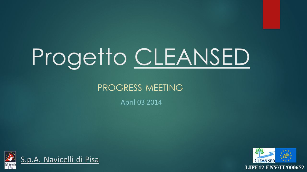 Progetto CLEANSED PROGRESS MEETING April 03 2014 LIFE12 ENV/IT/000652 S.p.A. Navicelli di Pisa