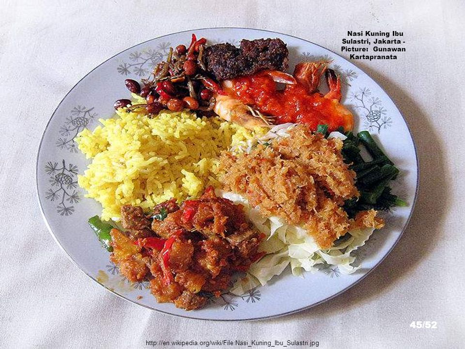 http://en.wikipedia.org/wiki/File:Food1.png Nasi Campur, Surabaya - Picture: Law67 44/52