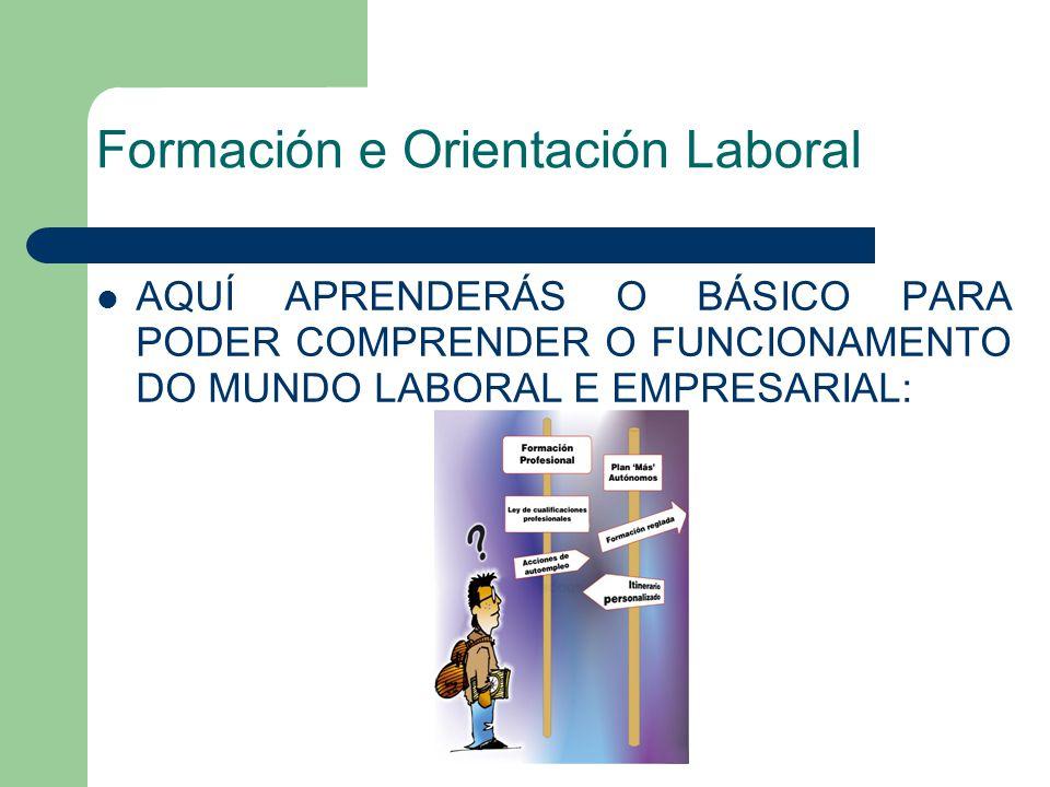 Formación e Orientación Laboral AQUÍ APRENDERÁS O BÁSICO PARA PODER COMPRENDER O FUNCIONAMENTO DO MUNDO LABORAL E EMPRESARIAL: