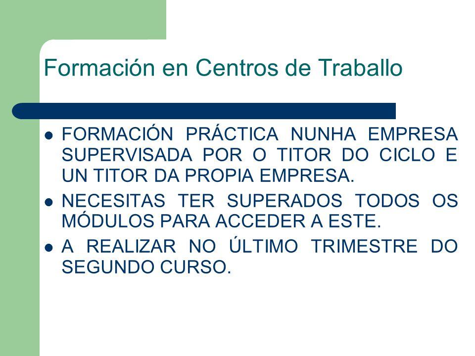 Formación en Centros de Traballo FORMACIÓN PRÁCTICA NUNHA EMPRESA SUPERVISADA POR O TITOR DO CICLO E UN TITOR DA PROPIA EMPRESA.
