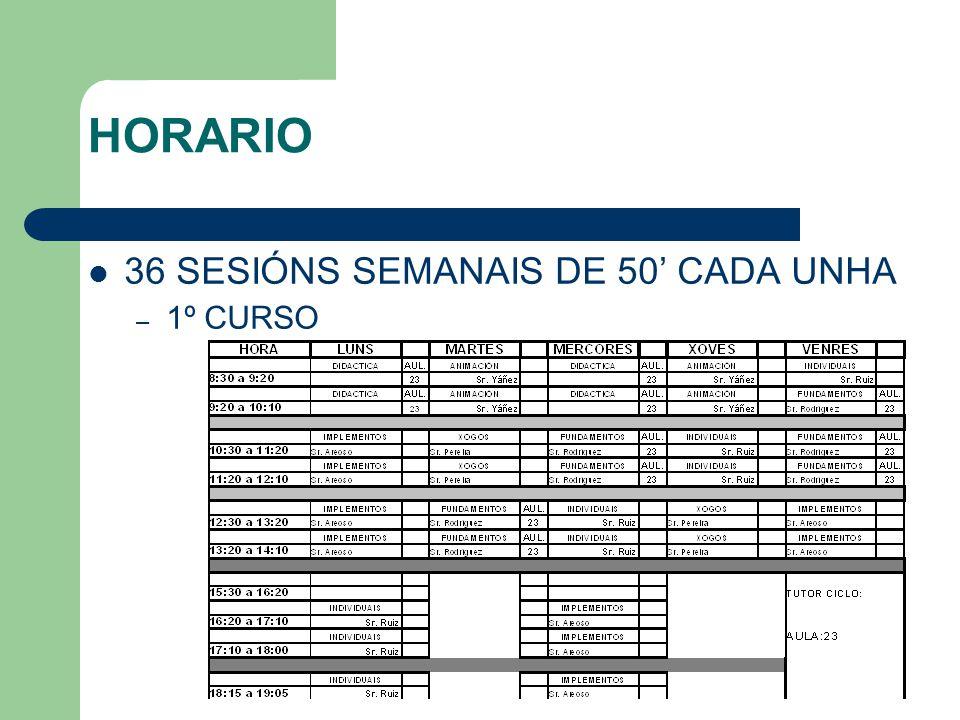 HORARIO 36 SESIÓNS SEMANAIS DE 50' CADA UNHA – 1º CURSO