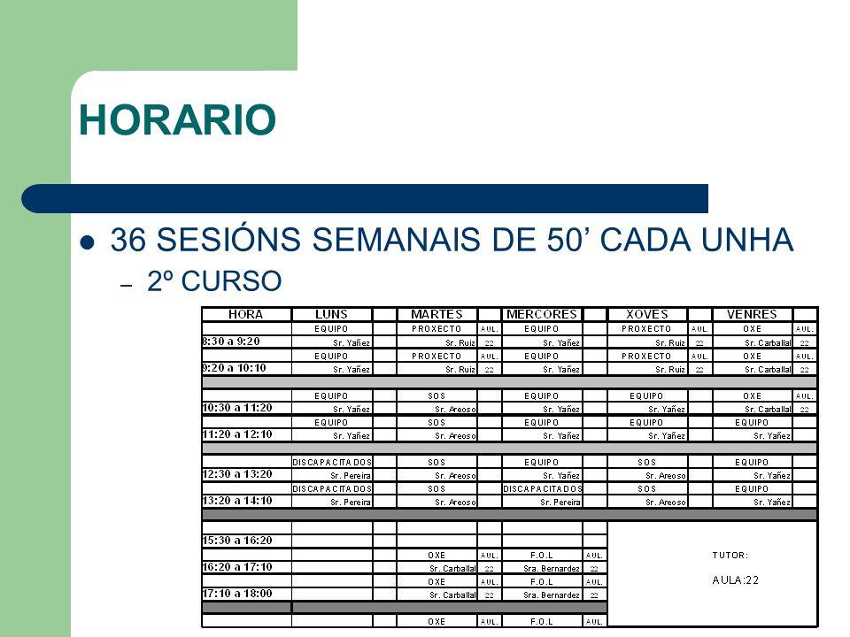HORARIO 36 SESIÓNS SEMANAIS DE 50' CADA UNHA – 2º CURSO