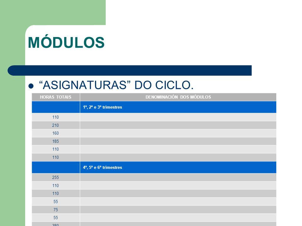 MÓDULOS ASIGNATURAS DO CICLO.
