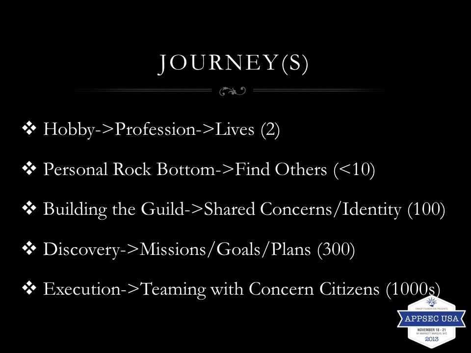 JOURNEY(S)  Hobby->Profession->Lives (2)  Personal Rock Bottom->Find Others (<10)  Building the Guild->Shared Concerns/Identity (100)  Discovery->