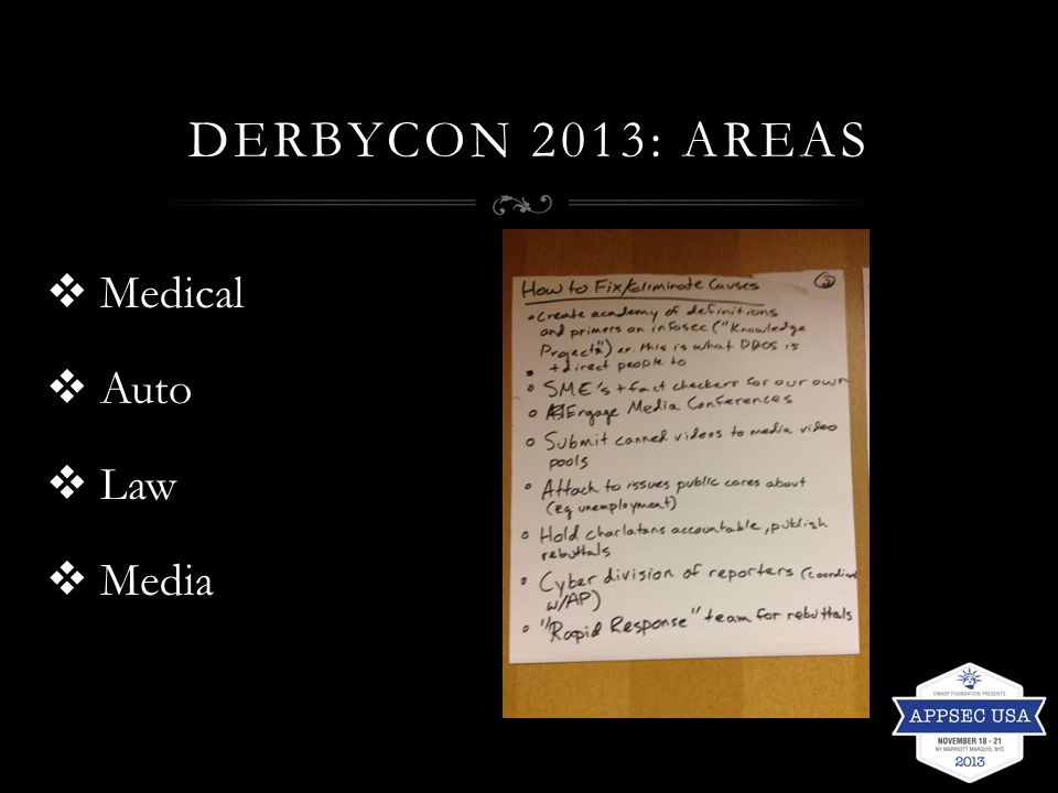 DERBYCON 2013: AREAS  Medical  Auto  Law  Media