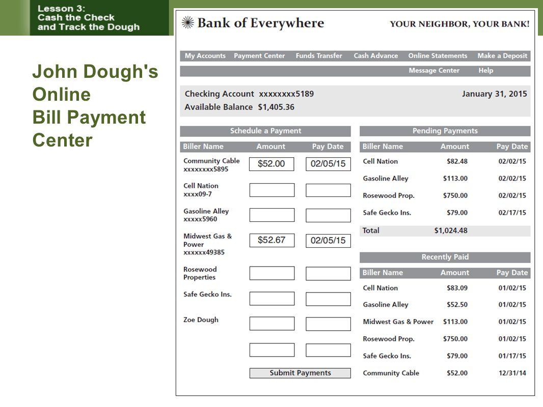 John Dough's Online Bill Payment Center