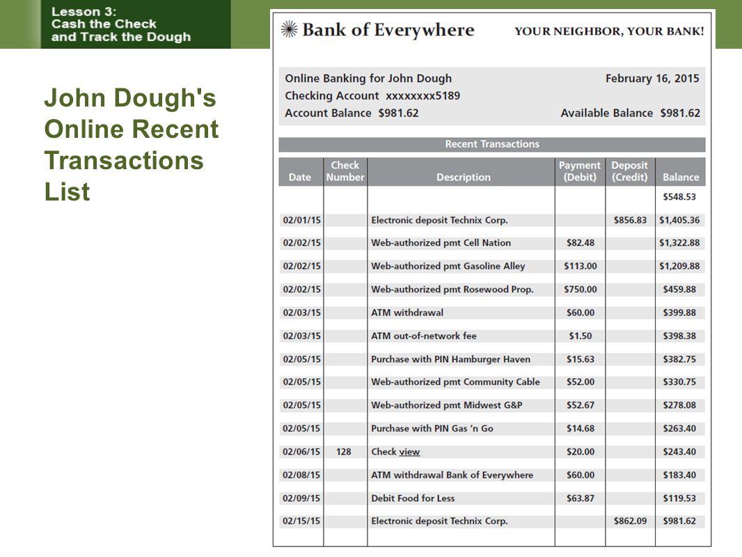 John Dough's Online Recent Transactions List