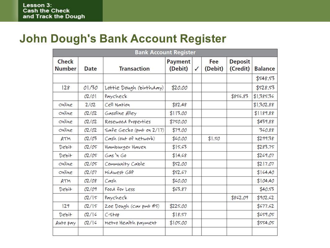 John Dough's Bank Account Register