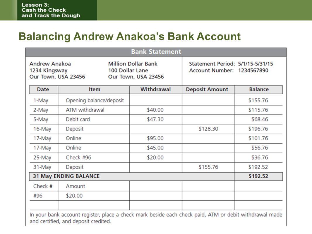 Balancing Andrew Anakoa's Bank Account
