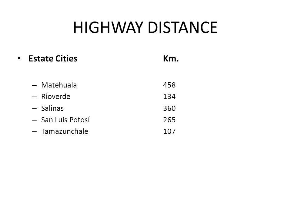 HIGHWAY DISTANCE Estate Cities Km. – Matehuala 458 – Rioverde 134 – Salinas 360 – San Luis Potosí 265 – Tamazunchale 107