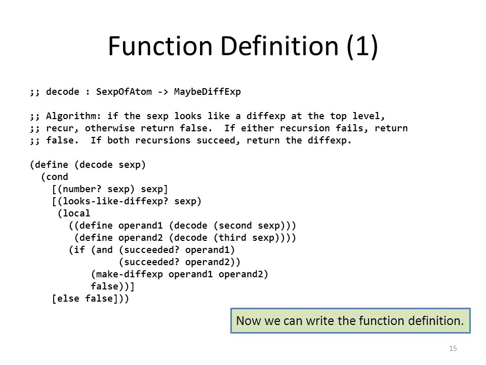 Function Definition (1) ;; decode : SexpOfAtom -> MaybeDiffExp ;; Algorithm: if the sexp looks like a diffexp at the top level, ;; recur, otherwise return false.