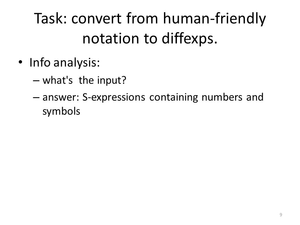 Task: convert from human-friendly notation to diffexps.