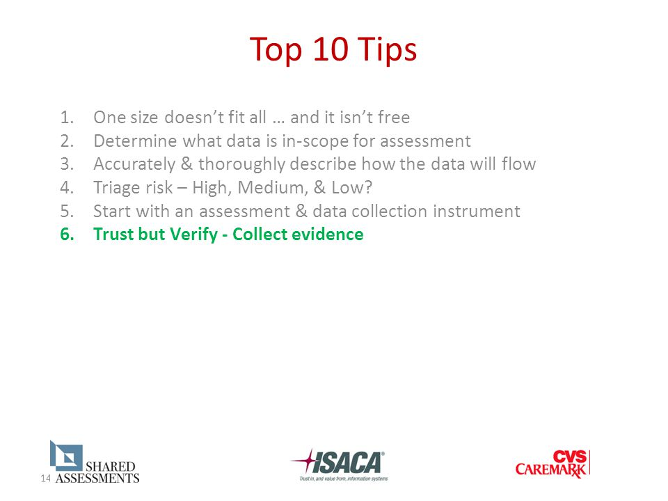 14 Top 10 Tips 1.One size doesn't fit all … and it isn't free 2.Determine what data is in-scope for assessment 3.Accurately & thoroughly describe how the data will flow 4.Triage risk – High, Medium, & Low.