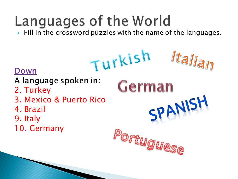  Fill in the crossword puzzles with the name of the languages.