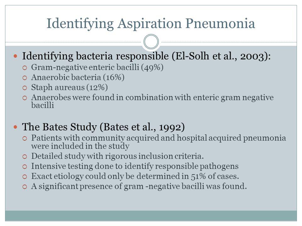 Identifying Aspiration Pneumonia Identifying bacteria responsible (El-Solh et al., 2003):  Gram-negative enteric bacilli (49%)  Anaerobic bacteria (