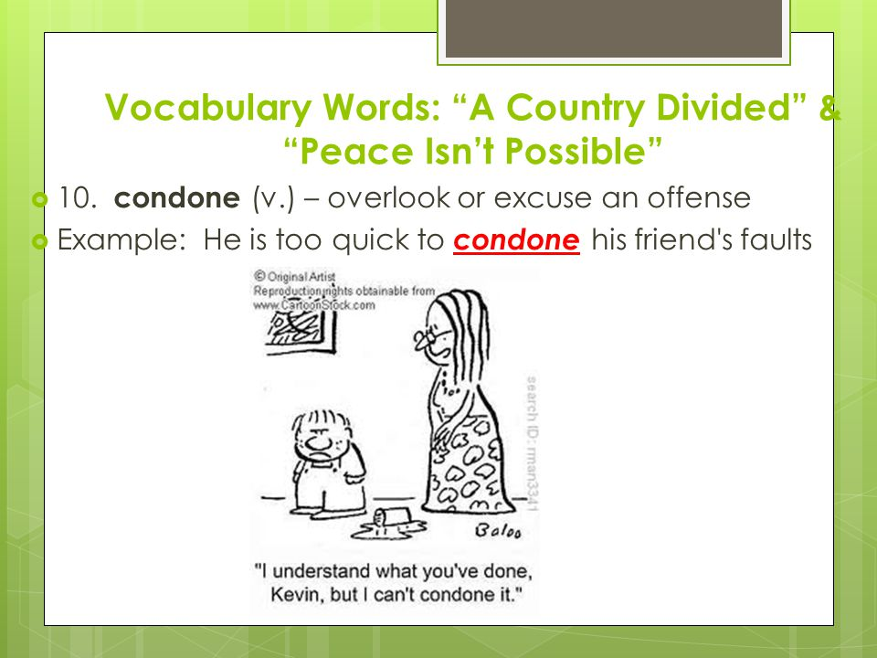 Vocabulary Words: A Country Divided & Peace Isn't Possible  10.