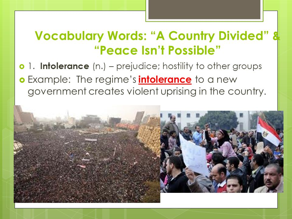 Vocabulary Words: A Country Divided & Peace Isn't Possible  2.