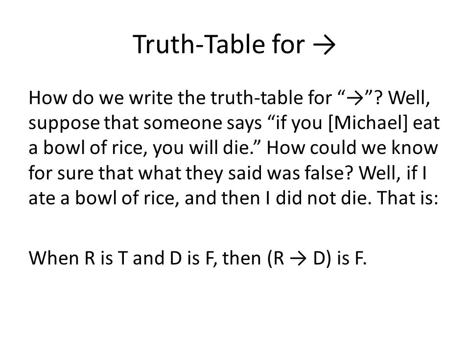 Truth-Table for → How do we write the truth-table for → .