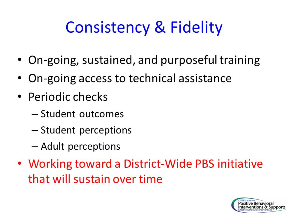 Consistency & Fidelity On-going, sustained, and purposeful training On-going access to technical assistance Periodic checks – Student outcomes – Stude