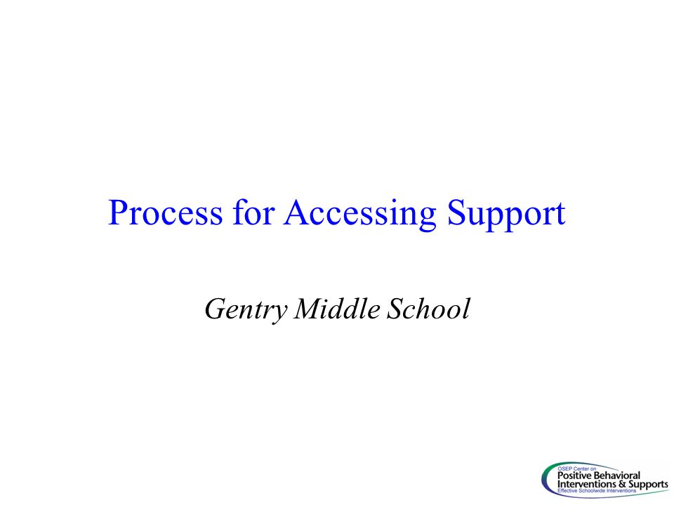 Process for Accessing Support Gentry Middle School