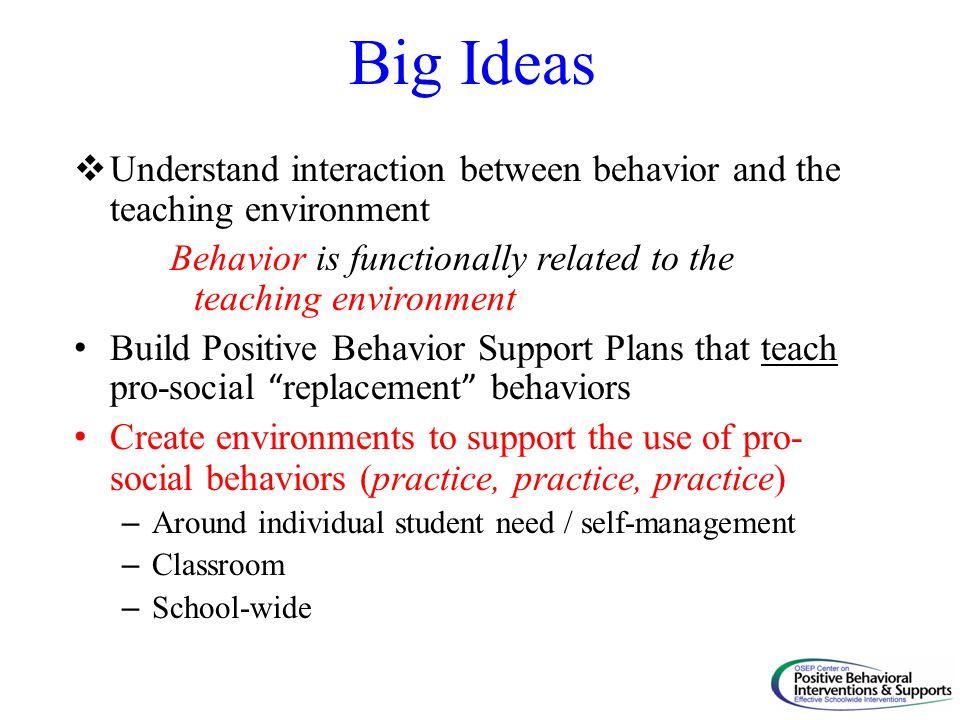 Big Ideas  Understand interaction between behavior and the teaching environment Behavior is functionally related to the teaching environment Build Po
