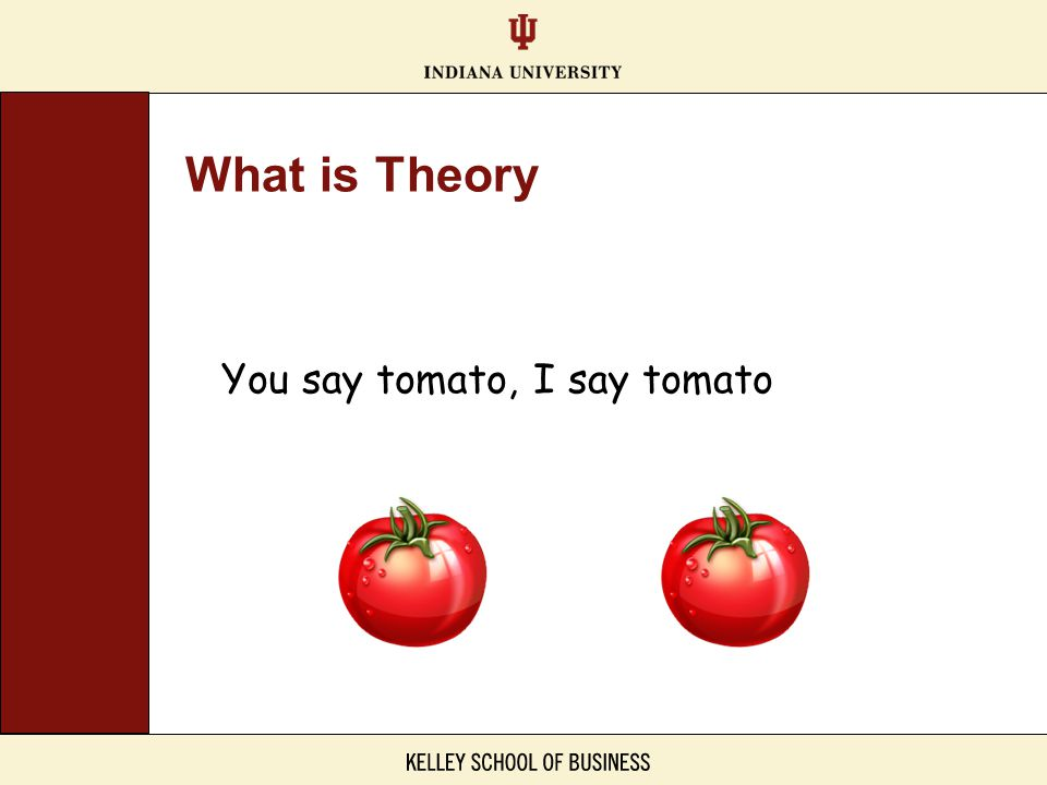 You say tomato, I say tomato What is Theory
